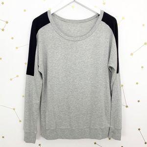 Beyond Yoga • Color Block Pullover Top Gray Black